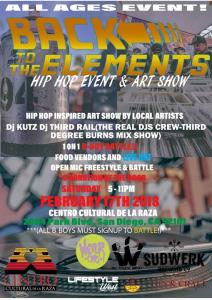 BACK To The ELEMENTS A Hip Hop Event & Art Show 2018