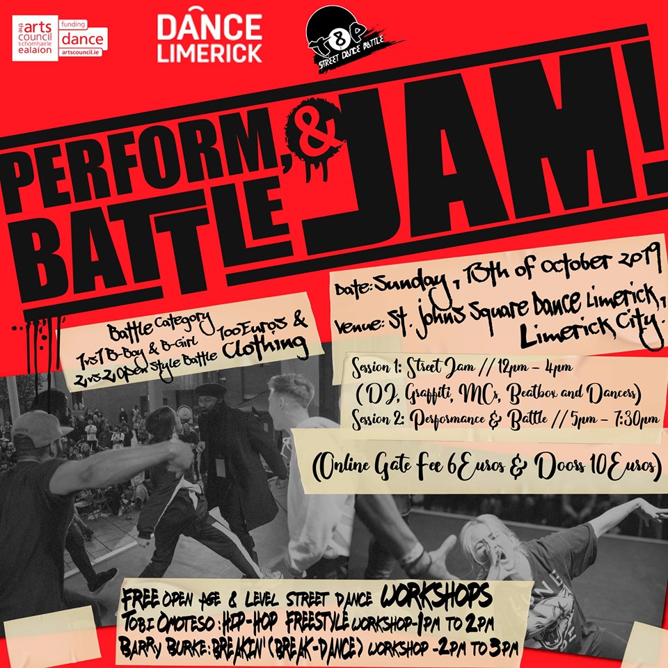 Top 8 Presents - Perform X Battle X Jam // Limerick City 2019 poster